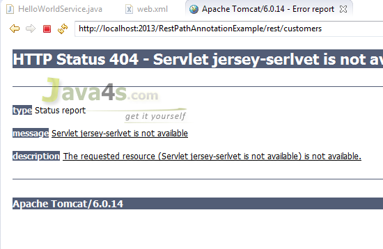 http status 404 – not found tomcat