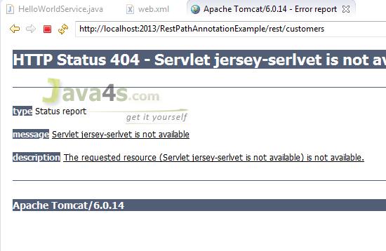 RESTful Web Service Hello World Example Using JAX-RS